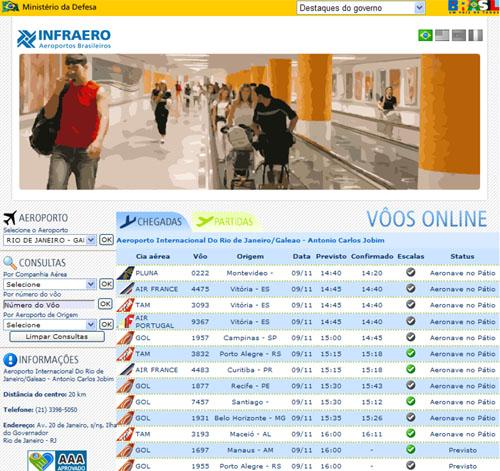 Infraero - Consultar vôos